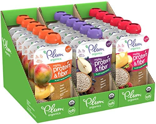Plum Organics Mighty Protein Fiber Stage 4 Organic Toddler Pouches Variety Pack 4 Oz Pouch 18Count product image