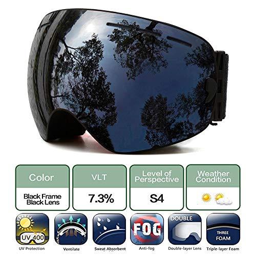 Skibril, Snowboard bril over bril, Anti Fog UV bescherming Sneeuwbril OTG Verwisselbare Lens voor Mannen Vrouwen Sneeuwmobiel, Skiën, Schaatsen