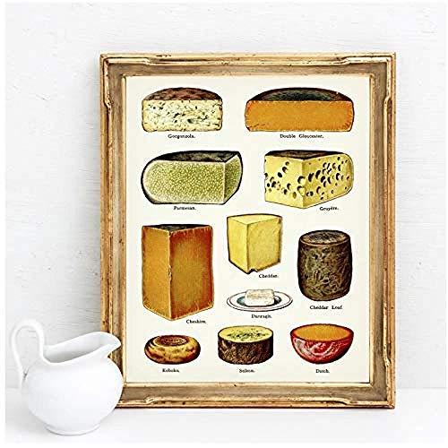 Canvas print,Nordic schilderij keuken Home Decor soorten kaas grafiek Poster Prints Vintage Wall Art foto eetkamer modulair-40x50cm