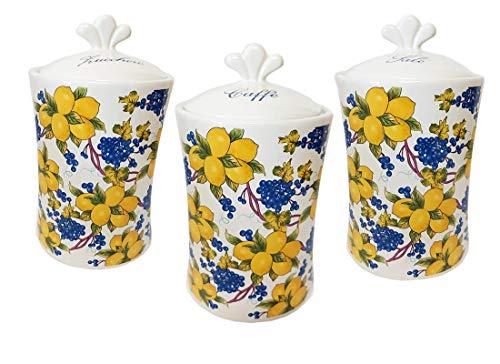 tris barattoli zucchero caffè sale maioliche stile limoni in ceramica elegante e raffinato set porterà funzionalità e moda nella tua cucina dandole eleganza e stile