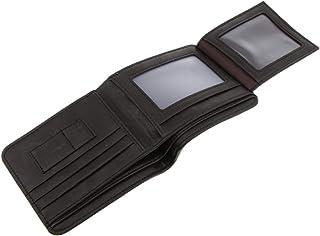 HOMYL Men's Black Brown Leather Wallet Card Money Holder Clutch Trifold Slim Purse - Black, 11.5x9.7cm