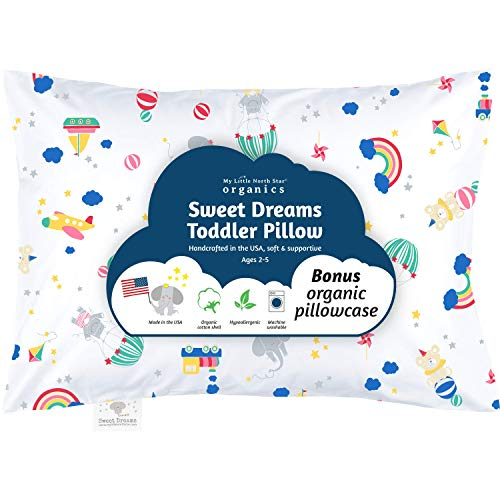 Organic Toddler Pillow & Pillowcase, Toys, Pillow Made in USA, 13X18, Best First Pillow, Hypoallergenic, Safe for Sensitive Skin & Allergies, Machine Washable. Ideal for Travel & Daycare