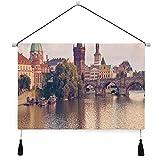 VINISATH Póster colgante de lienzo,Ciudad Praga Río y puente Imprimir perchas decorativas para colgar en la pared con pergamino para el hogar,sala de estar,dormitorio,hotel,dormitorio,oficina