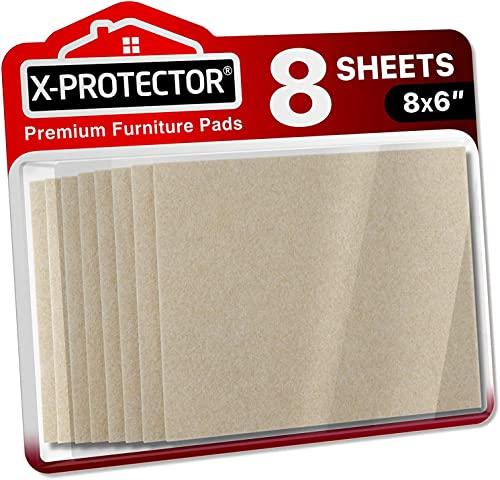 X-PROTECTOR Filzgleiter selbstklebend - 8 Stück Filzgleiter Groß - Premium Filz selbstklebend 20x15cm Heavy Duty 5 mm! Geschnittene Möbelgleiter für Möbelfüße - Klebepads zum Schutz Ihre Holzbodens