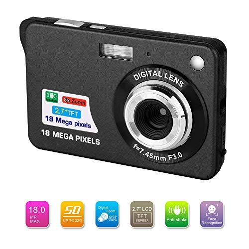 Bosszi Digitalkamera für Kinder, Kompakte Digitale Videokamera 18 Megapixel Wiederaufladbare Kamera Digital mit 2.7 Zoll 1280×720 HD LCD Bildschirm für Studenten/Senioren/Kinder (Schwarz)