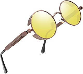 FEIDU - Fidu FD3015 - Gafas de sol redondas de estilo steampunk para hombre, retro, polarizadas, marco de metal, protección UV400