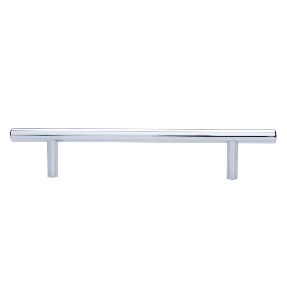 AmazonBasics - Tirador de armario en forma de barra, tipo europeo (9,52 mm de diámetro), 18,74 cm de longitud (centro del orificio de 12,7 cm), Cromo pulido, Paquete de 50: Amazon.es: Bricolaje y herramientas