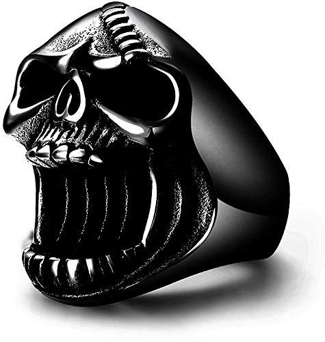 QAZXCV Botella Inoxidable 316L Negro gótico Anillos del cráneo del Motorista del Punk Acero Inoxidable quirúrgico Anillo para Hombre de Cerveza abridor Hombres,11