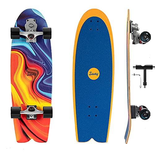 Skateboard Para Principiantes Tabla De Skate Completo 32In Surfing Board, S7 Carving Truck Tabla De Skateboard 7 Capas De Madera De Arce Con Rodamientos ABEC-11 Para Profesionales Niñas Niños Adultos