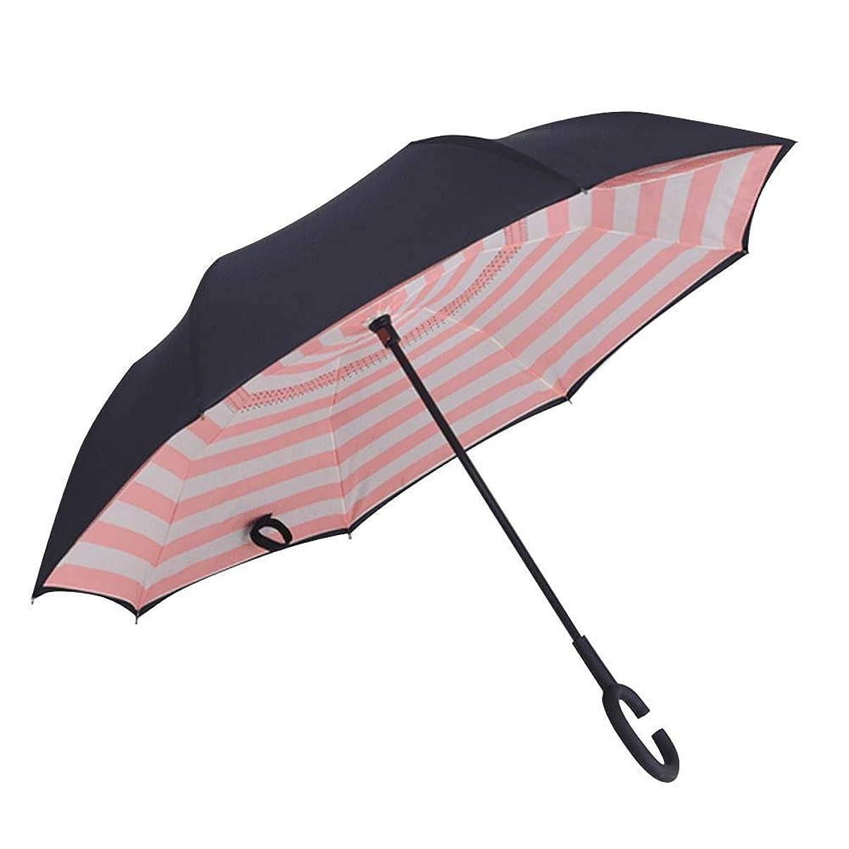 TOMOYOU Double Layer Inverted Umbrella C Shape Handle Reverse Folding Umbrella Anti-UV Windproof Travel Umbrella with Carrying Bag Waterproof Straight Umbrella Reverse Umbrella