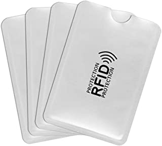 AUTOEASY RFID Blocking Card Holder- 4 pcs. Card Protector Sleeves Blocks Credit Cards, Blocking Sleeve, Blocking Pouch, RFID Credit/Debit Card Sleeves,Anti Scan Aluminium Foil Credit Card Cover