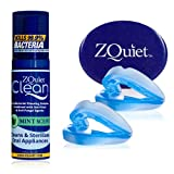 ZQuiet Anti-Snoring Mouthpiece Solution, 2-Size Comfort System Starter Kit + Anti-Bacterial Cleaning Solution (1.5oz Bottle) - Made in USA & FDA Cleared, Sleep Aid Device and Foaming Cleaner