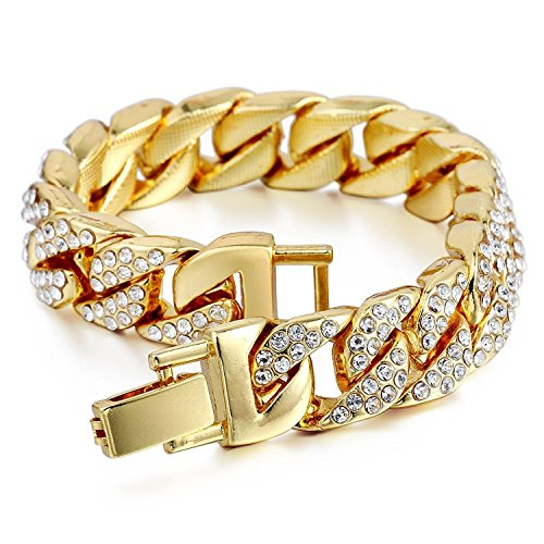 Mens Womens Cuban Link Bracelet Hip Hop Bracelet Stainless Steel Chain Bracelet Iced Out Curb Cuban 18k Gold Plated Bracelet With Clear Rhinestones (A-Gold)