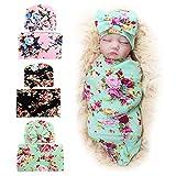 BQUBO Newborn Floral Receiving Blankets Newborn Baby Swaddling Hats Sleepsack Toddler Warm 3 Pack