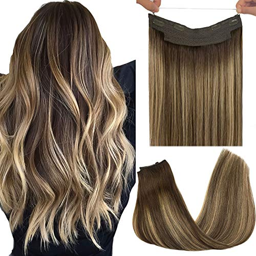 GOO GOO Human Hair Extensions Halo Hair Ombre Chocolate Brown to Honey Blonde 70g 12 Inch Hairpiece Remy Wire Hair Extensions Flip in Straight Invisible Hidden Crown Hair Extensions with Fish Line