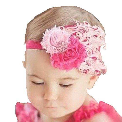 Superbe bébé fille Serre-tête mignon plumes Apparel accessoire de rose (1 ~ 4Y)