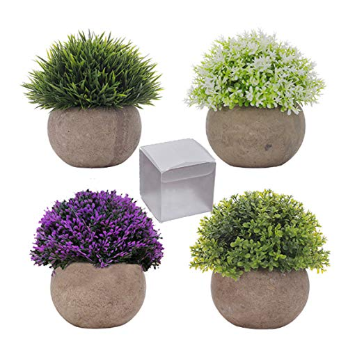QAQGEAR 4er-Set Mini Künstliche Topfpflanze Kunstpflanzen Kunststoff Gefälschte Pflanzen Topf Realistische Kleine künstliche Mehrfachpflanze für Wohnkultur Faux Feaux Pflanzendekor