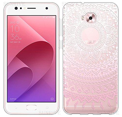Sunrive Für Asus Zenfone 4 Selfie ZD553KL 5,5 Zoll Hülle Silikon, Transparent Handyhülle Schutzhülle Etui Hülle Backcover(TPU Blume rosa)+Gratis Universal Eingabestift