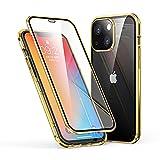 カメラ保護カバー付き iPhone 13 ケース アルミバンパー 両面ガラス クリア 透明 アイフォン13 ガラスケース 360°全面保護 磁石カバー マグネット 強化ガラスケース おしゃれ 薄型 (iPhone13, 金)