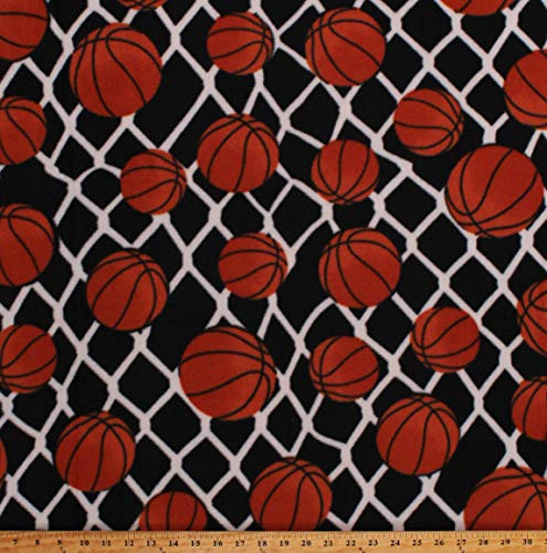 Fleece (not for masks) Basketballs Balls Net Allover on Black Sports Fleece Fabric Print by The Yard (A408.45)
