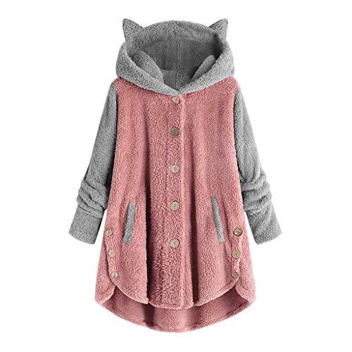 YANFANG Abrigo para Mujer Chaqueta Abrigo cálido Caliente y Esponjoso Flannel Tipo Manta Talla Grande de Invierno con Bolsillo con Capucha de Felpa