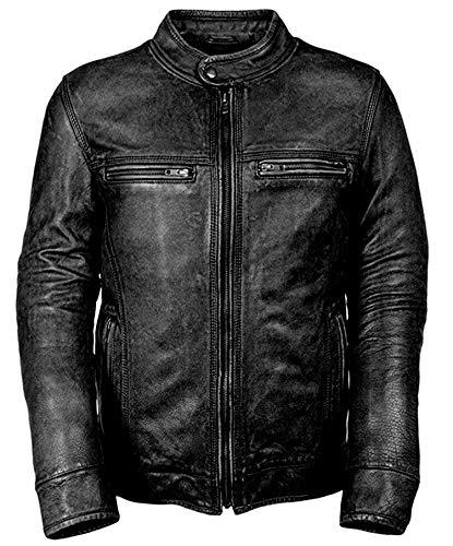 Gearswears Chaqueta de cuero negro desgastado para hombres motocicleta Biker cafe Racer chaqueta de cuero para hombres hecha con piel de cabra genuina