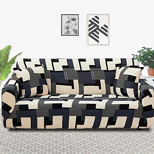 ASCV Funda para Muebles con Estampado Floral Fundas para sofás Funda para sofá elástica para Sala de Estar Funda Protectora Antideslizante para Muebles A5 3 plazas