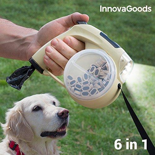 InnovaGoods Leine 6 in 1 Rollleine für Hunde mit LED Lampe Uhr Leckerli Fach Wasserschüssel Fach für Kotbeutel