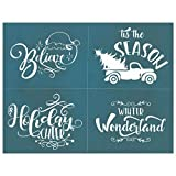 DIY Silk Screen Printing Stencil,'Christmas Quotes Collection 2' Holiday Design for Fabric, Wood, Ceramic, T-Shirts, Chalkboards, and More! (#286)