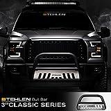 Stehlen 714937181441 3' Classic Series Bull Bar - Matte Black/Brush Aluminum Skid Plate For 2004-2020 Ford F150 / 2003-2017 Expedition / 2003-2014 Lincoln Navigator / 2006-2008 Mark LT