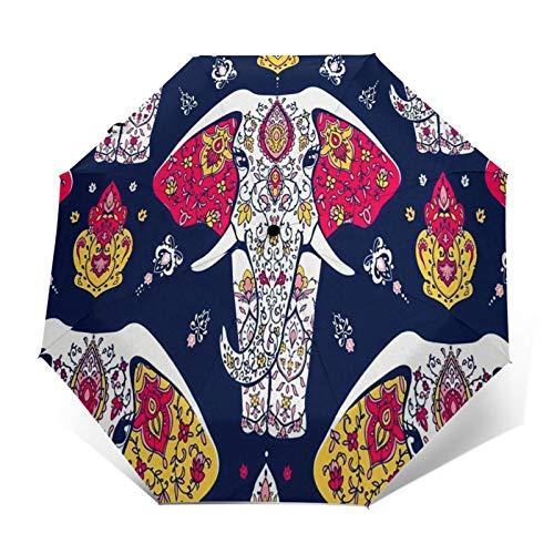 Paraguas Plegable Automático Impermeable Mandala Hippie Elefante Yoga Árabe, Paraguas De Viaje Compacto a Prueba De Viento, Folding Umbrella, Dosel Reforzado, Mango Ergonómico