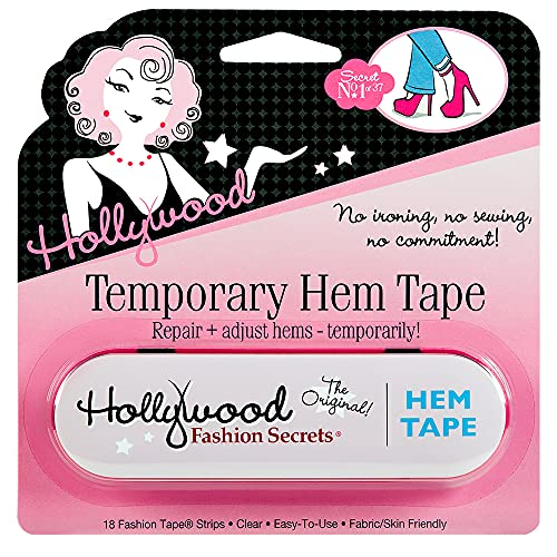 Hollywood Fashion Secrets Temporary Hem Tape, Fabric Friendly Medical-Grade Double-Stick Adhesive Strips - Ideal for Temporary Hemming of Jeans, Jacket Cuffs, Skirts, and Dresses - 18 pcs