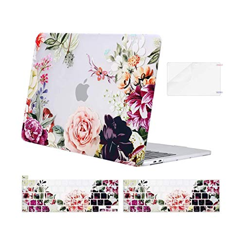 MOSISO Compatible with MacBook Pro 13 inch Case 2016-2020 Release A2338 M1 A2289 A2251 A2159 A1989 A1706 A1708, Plastic Rose Leaves Hard Shell Case&Keyboard Cover&Screen Protector, Transparent