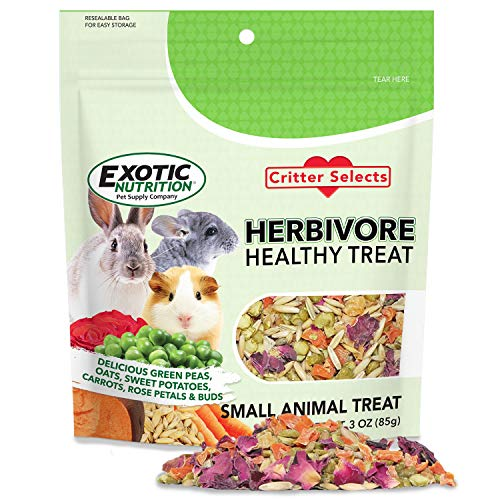 Herbivore Treat (3 oz.) - Healthy Natural Mixed Treat - Sweet Potatoes, Carrots, Green Peas, Oats, Rose Petals - for Chinchillas, Rabbits, Guinea Pigs, Prairie Dogs, Degus, and Other Small Pets
