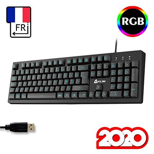 KLIM Bolt - Gamer Tastatur + Schneller und präziser Anschlag + Hinterleuchtete PC Tastatur mit Multimedia-Steuerung + 7 Farben und 3 Effekte + Kompatibel mit Mac PS4 Xbox One + Schwarz + NEU 2020