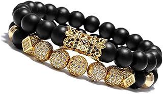 Meangel 8mm Charm Beads Bracelet for Men Women Black...