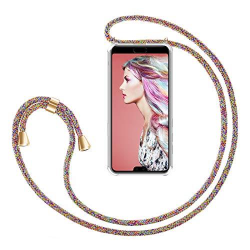 ZhinkArts Handykette kompatibel mit Huawei P20 Pro - Smartphone Necklace Hülle mit Band - Handyhülle Case mit Kette zum umhängen in Rainbow
