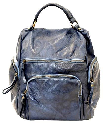 BZNA Bag Stella blau Backpacker Designer Rucksack Damenhandtasche Schultertasche Leder Nappa sheep ItalyNeu
