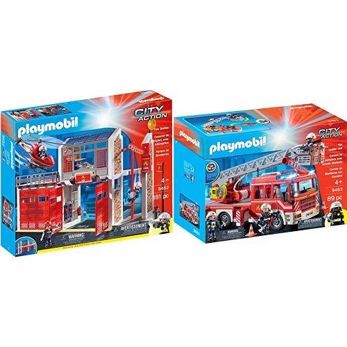 PLAYMOBIL 9462 Spielzeug-Große Feuerwache &  9463 Spielzeug-Feuerwehr-Leiterfahrzeug