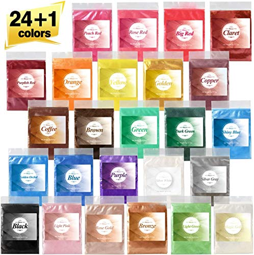 25 Couleurs Poudre Mica Naturel métallique, Colorant résine époxy, pigment résine époxy, Colorant de Savon, Maquillage, colorant gloss, Peinture, Poudre pour ongles, colorant pâte fimo