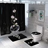 Morbuy 4 Pcs Ensemble Rideau de Douche Salle de Bain Tapis Contour WC Tapis de Bain Antidérapant Couvre Couverture de Toilette Siège - Imprimé Floral (Lotus Blanc)