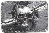 Brazil Lederwaren Gürtelschnalle Split Skull 4,0 cm | Buckle Wechselschließe Gürtelschließe 40mm Massiv | Wechselgürtel bis 4cm | Silber