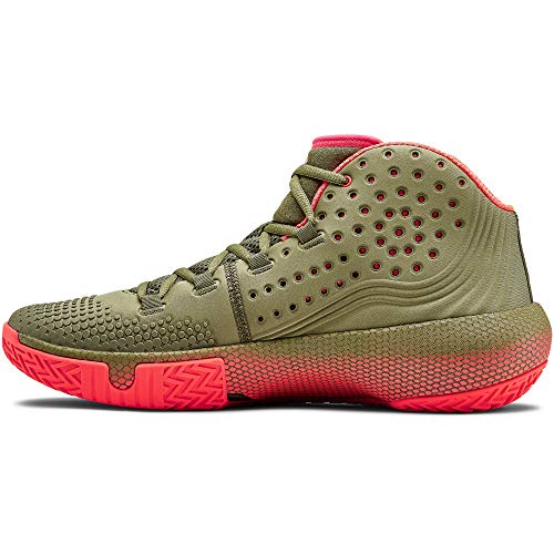 Under Armour Men's HOVR Havoc 2 Basketball Shoe, Outpost Green (301)/Beta Red, 11