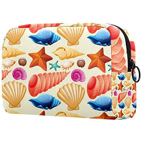 Personalised Makeup Brushes Bag Portable Toiletry Bags for Women Handbag Cosmetic Travel Organiser Seashells Starfish Conch Colorful