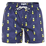 "MaaMgic Mens Slim Fit Quick Dry Short Swim Trunks with Mesh Lining,Medium(Waist:31""-33""),New-qma199-pineapple from MaaMgic"