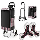WOOKRAYS Folding Shopping Cart, Stair Climber Shopping Cart 150 lbs Capacity Grocery Cart on Wheels with Detachable Bags 2 Extra Pockets Anti-Slip Bar Trolley Carts Utility Trolley