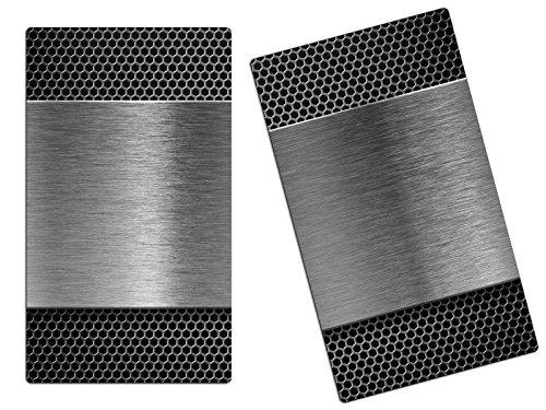 Herdabdeckplatten, Schneidebrett aus Glas, Edelstahl Optik HA116227504 Variante 2er Set (2 Panels)