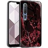 JAWSEU - Custodia per telefono compatibile con Xiaomi Mi 10, con motivo in marmo e cristallo, ultra sottile, in vetro temperato, antigraffio, antiurto, custodia in silicone
