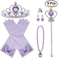 PLUM-MARKETING Vicloon 9 Pcs Princesa Vestir Accesorios Regalo Conjunto de Belleza Corona Sceptre Collar Guantes para Niña (Morado)