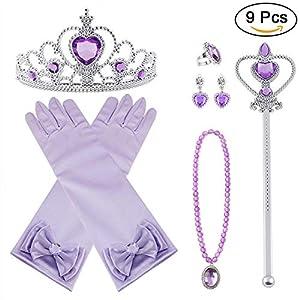 Vicloon 9 Pcs Princesa Vestir Accesorios Regalo Conjunto de Belleza Corona Sceptre Collar Guantes para Niña - Morado